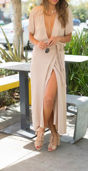 pale pink plunging neckline maxi wrap dress