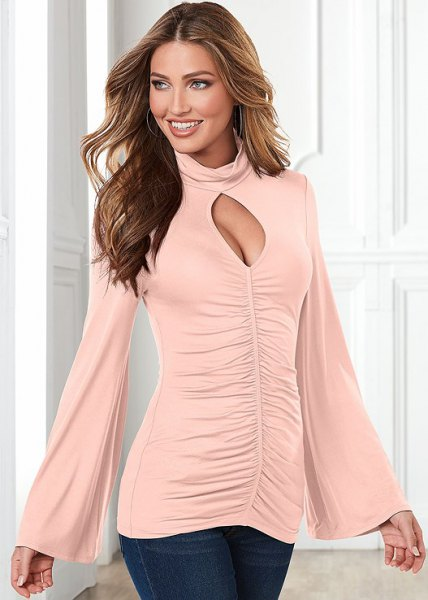 pink bell sleeve mock neck cut out front ruched top
