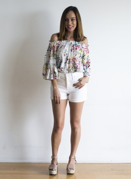 pink floral off the shoulder blouse white shorts