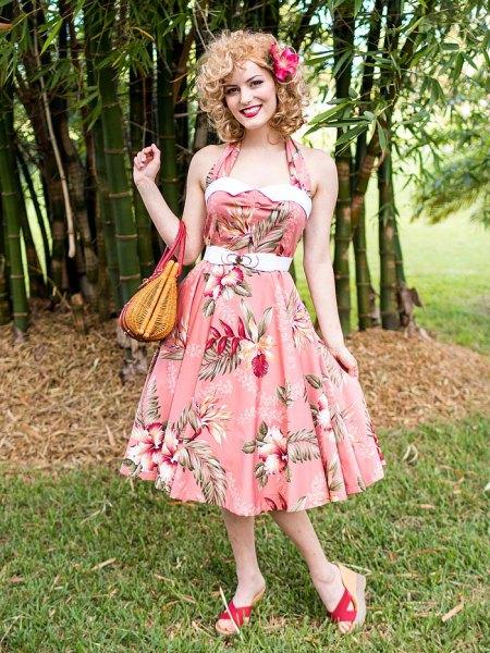 pink halter neck floral tube swing dress