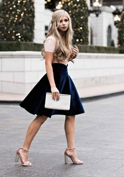 pink heels with navy velvet mini skirt