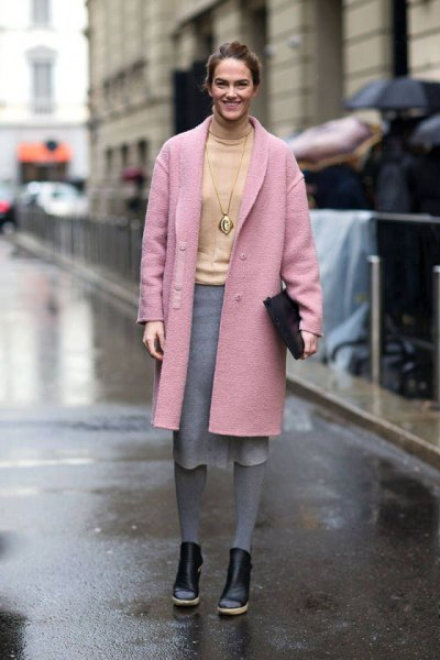 pink wool long coat with yellow sweater grey midi skirt