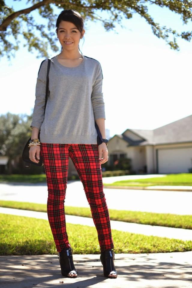 plaid leggings sweatshirt