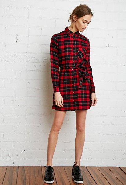 red and black plaid tie waist flannel shirt dress
