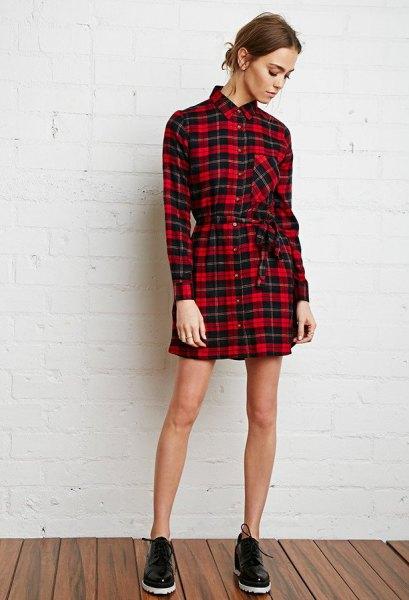 red and black plaid tie waist flannel shirt dress