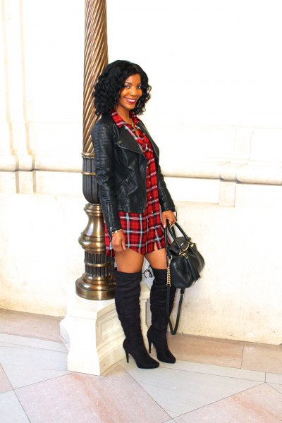 red flannel shirt dress black leather jacket