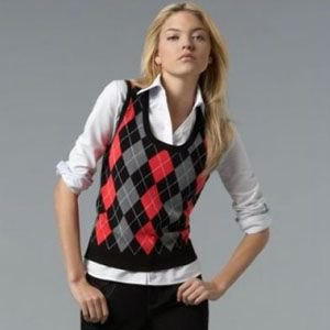 red grey black patterned sweater vest white shirt jeans