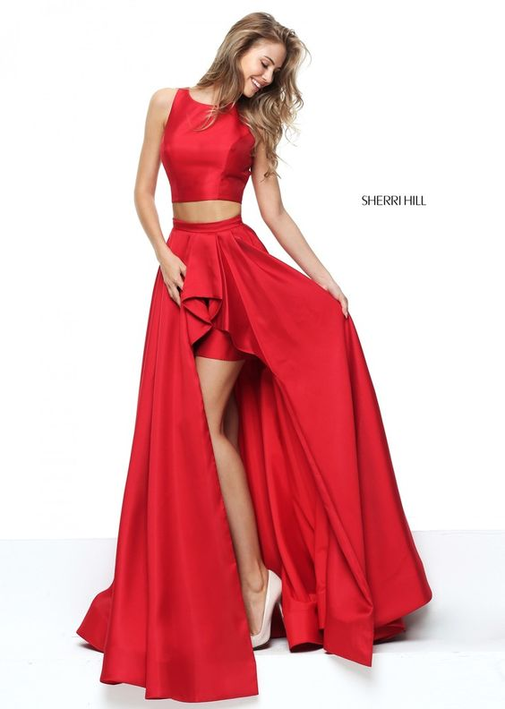 red high low dress coral two pieced