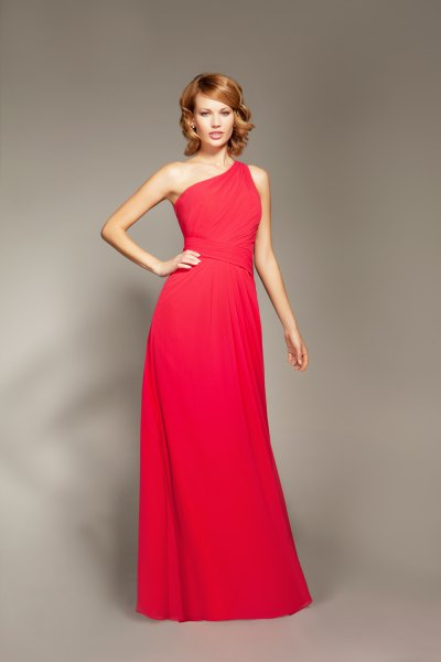red one shoulder flared maxi dress