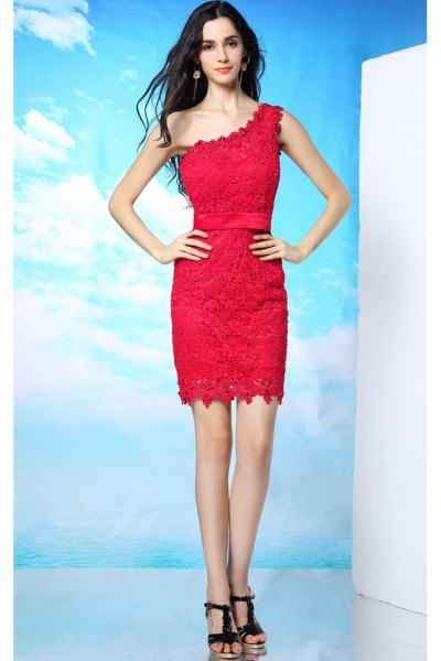 red one shoulder lace dress with black heels