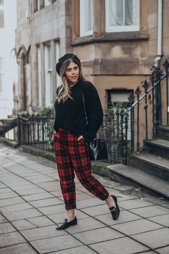 Red Plaid Pants Chic and Grunge Outfit Ideas