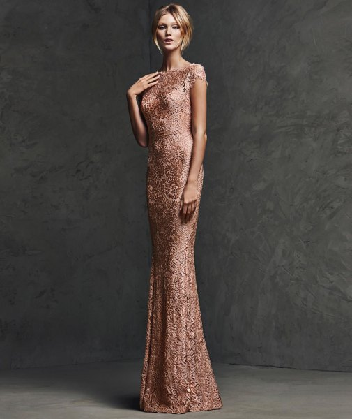 rose gold sequin bodycon floor length dress