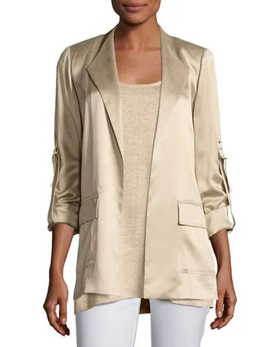 rose gold silk blazer jacket with white skinny jeans