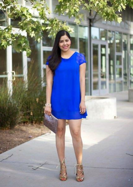 royal blue cap sleeve shift mini dress