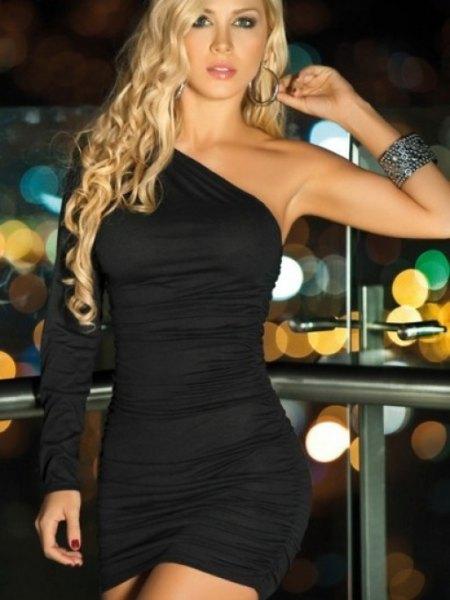 ruched black boydcon mini one shoulder dress