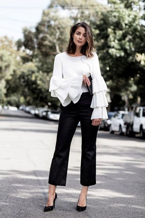 ruffle sleeve blouse black white