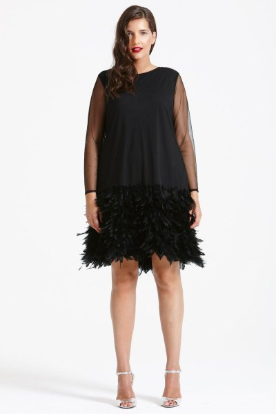 semi sheer black shift feather dress