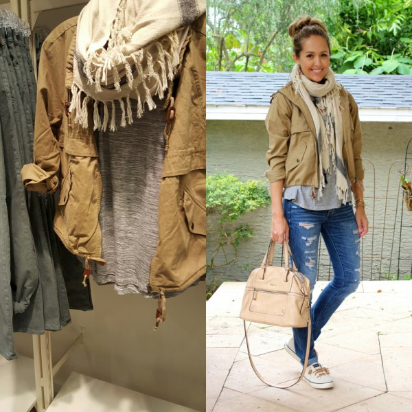 short light brown anorak jacket white fringe scarf