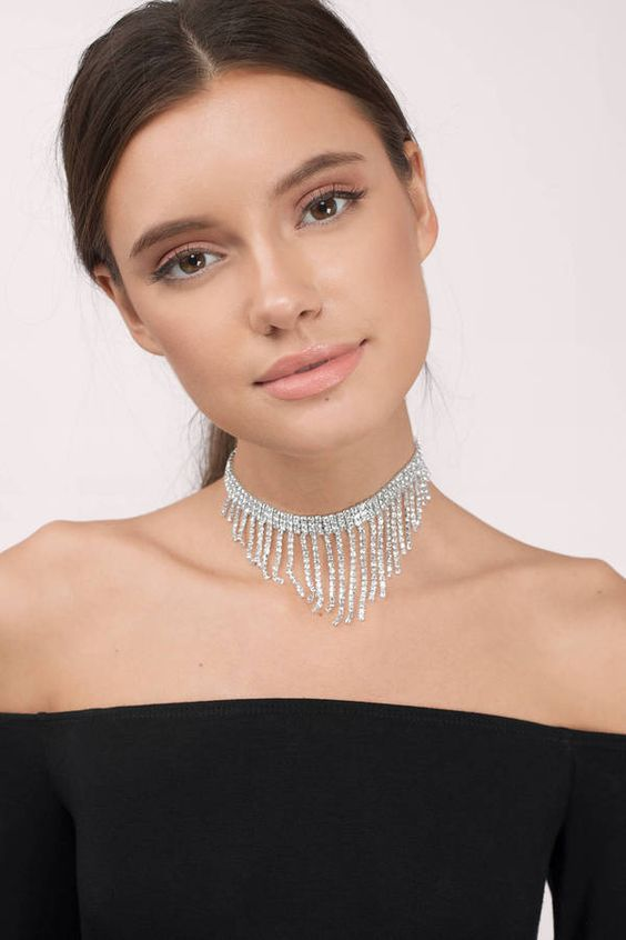 silver choker necklace cocktail dress