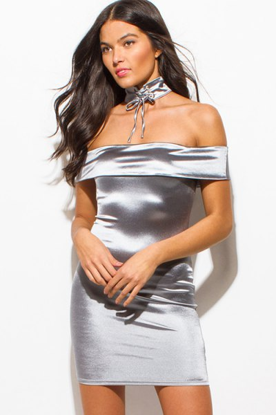 silver off the shoulder bodycon dress with choker