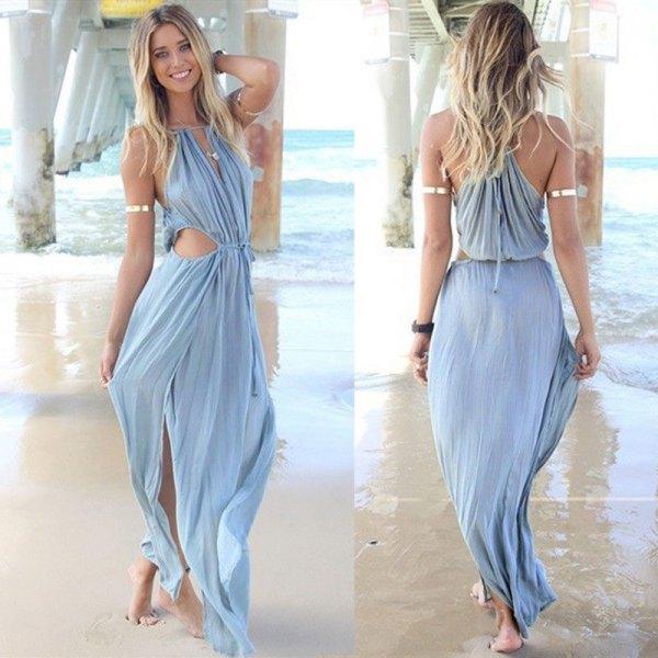 sky blue bandage v neck cutout front maxi dress