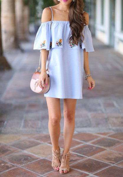 sky blue open shoulder floral embroidered ruffle mini dress