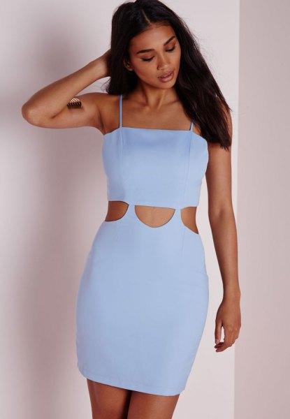 sky blue spaghetti strap cutout front bodycon mini dress