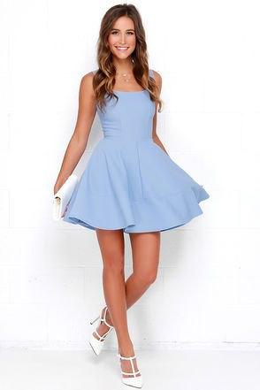 sky blue tank skater mini dress with white heels