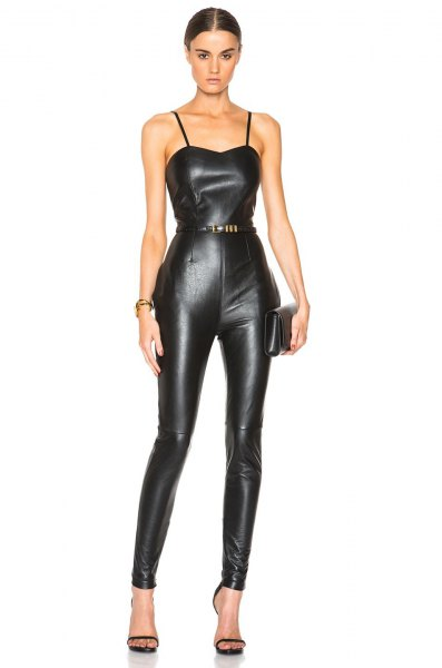 spaghetti strap belted leather jumpsuit with open toe heels