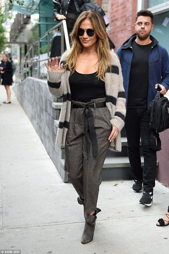 striped cardigan j lo