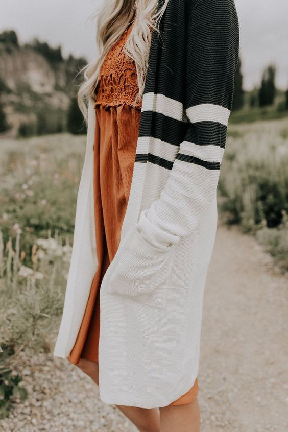 striped cardigan orange dress