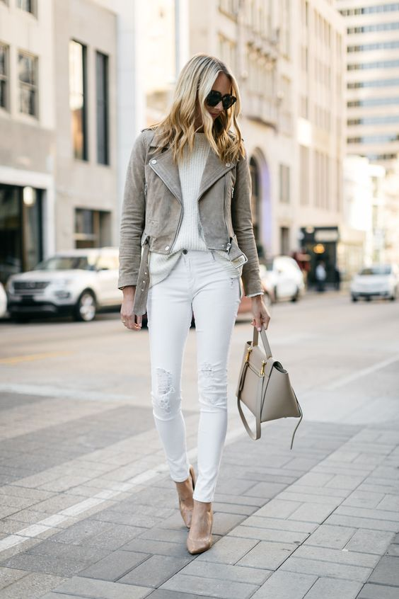 suede moto jacket all white