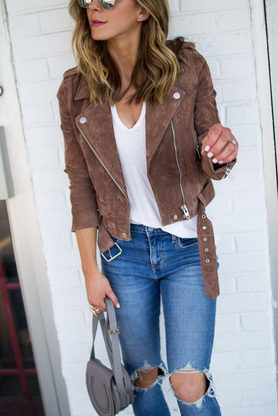 suede moto jacket brown forever