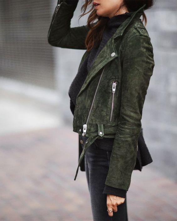 suede moto jacket olive black