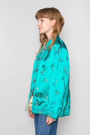teal silk printed chinese style silk jacket with jeans