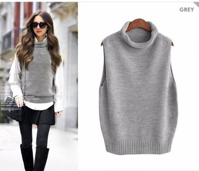 turtleneck grey sweater vest white shirt black skirt