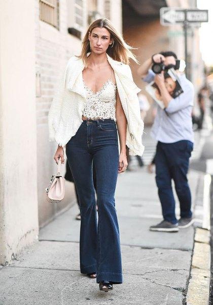 white blazer lace bralette