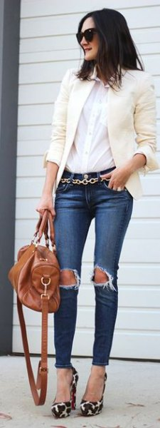 white blazer ripped skinny jeans