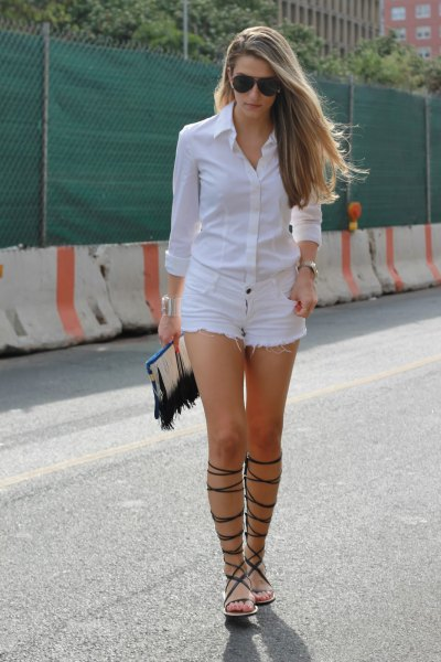 white button up shirt denim shorts strappy sandals