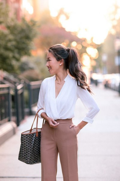 white chiffon wrap top with blush pink chinos