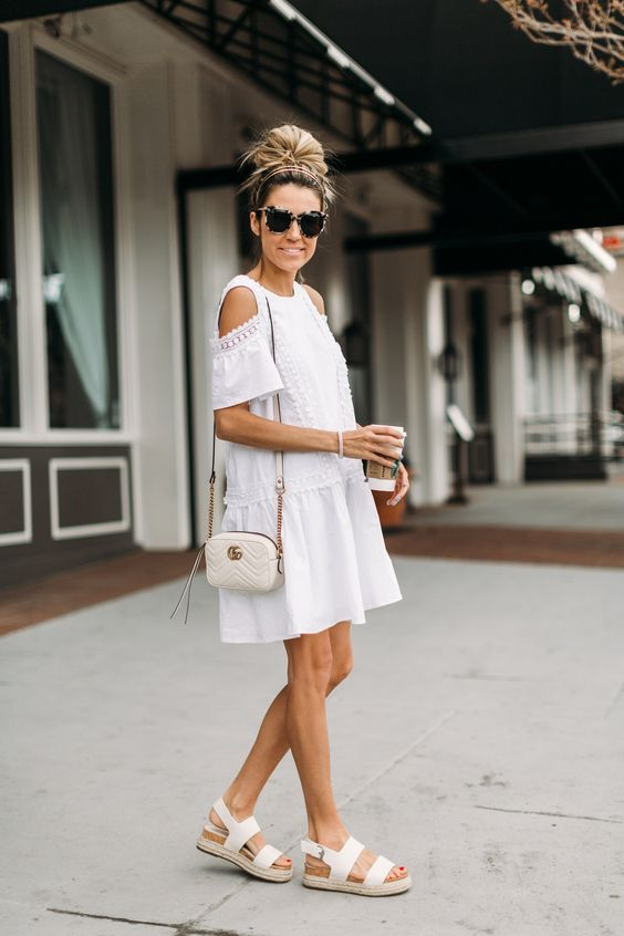 white cold shoulder dress all white