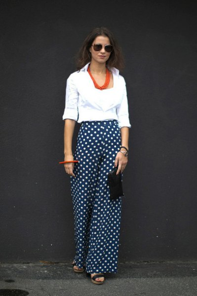 white cowl neck blouse black polka dot wide leg pants
