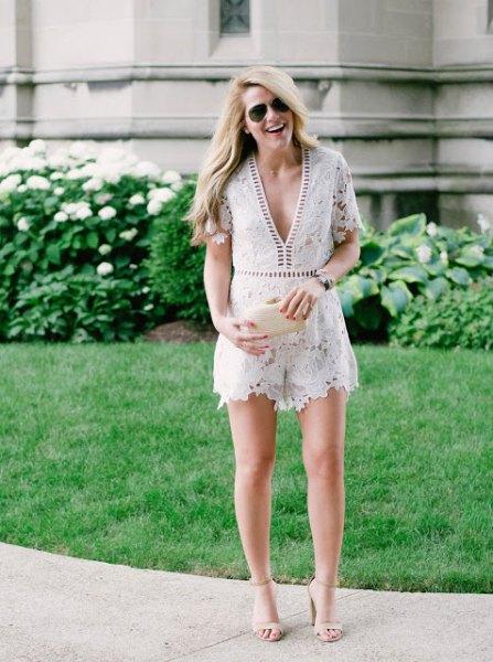 white deep v neck lace romper pale pink open toe heels