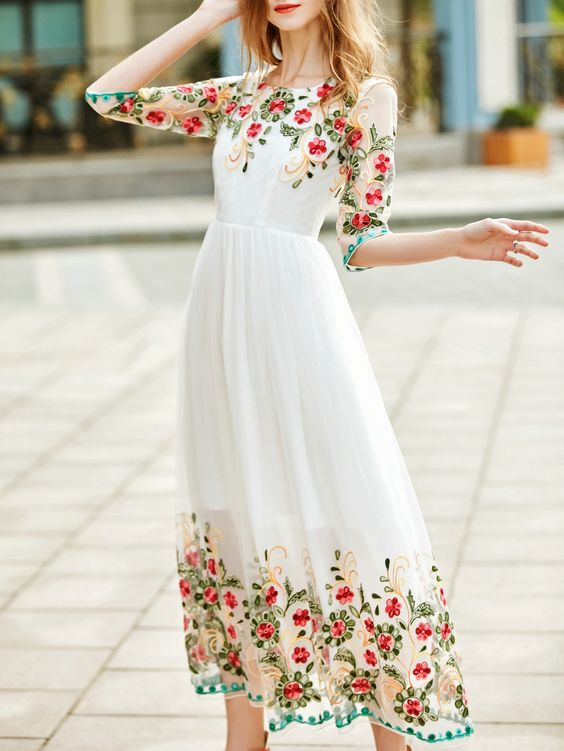 white embroidered dress classy