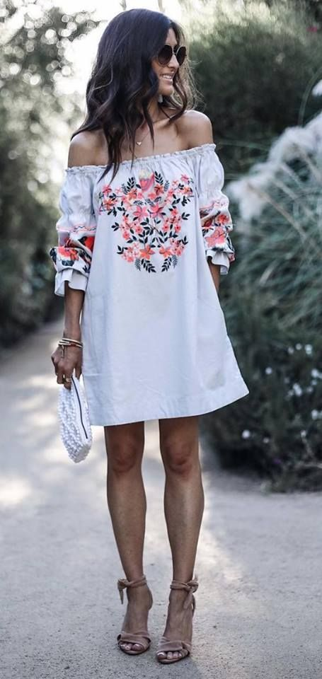 white embroidered dress off the shoulder classy