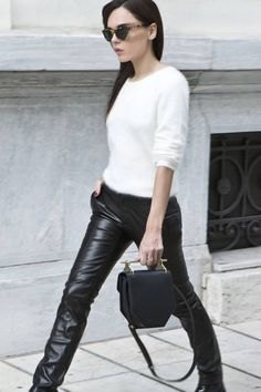 white fitted sweater black leather leggings
