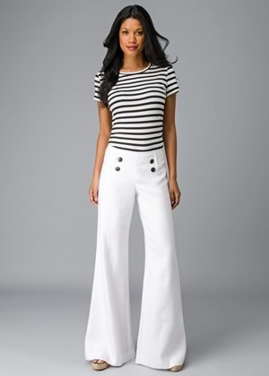 white flared sailor pants with striped t shirt