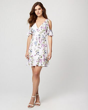 white floral deep v neck cocktail dress