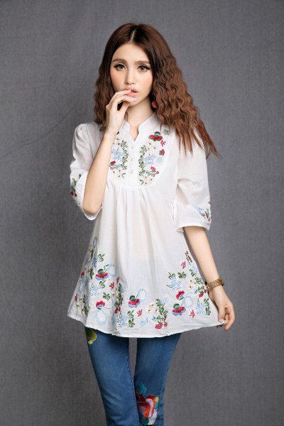 white floral mexican blouse floral skinny jeans
