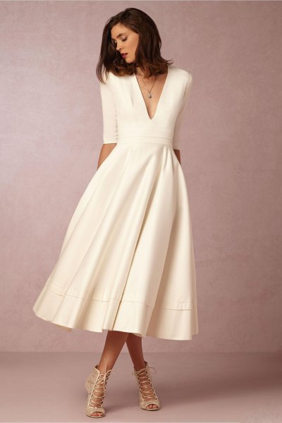 white half sleeve deep v neck midi flared dress